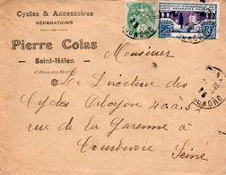 V7SF Enveloppe Timbrée Timbre Exposition Paris 1925 Entête 22 Saint Hélen Cycles Réparations Pierre Colas - 1921-1960: Moderne