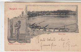 BANGKOK (SIAM) THAILAND SIAMESE WONAM AND CHILD RIVER VIEW - CARTOLINA ORIGINALE SPEDITA PRIMI DEL 1900 - Thailand