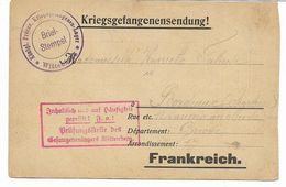WW1- Carte De Prisonnier Camp De WITTENBERG - Censure - ARBEITSKOMMANDO Nr 91   Voir 2 Scans - Guerre De 1914-18