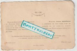 V P : Faire  Part  Mariage :  Fleuré , Orne   1942 ( Imp à  Argentan) - Wedding
