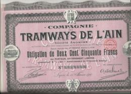 COMPAGNIE DES TRAMWAYS DE L'AIN  LOT DE 3 OBLIGATIONS DE 250 FRS -ANNEE 1910 - Chemin De Fer & Tramway