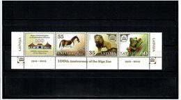 Latvia 2012 .Riga Zoo-100. 3v. +  Labels .  Michel # 831-33A - Lettonie