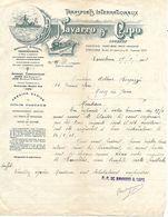 Facture ESPAGNE 1912 / Barcelone,Port-Bou, Irun, Hendaye / NAVARRO & CAPO / Transports Internationaux Bateaux, Trains - Espagne