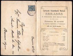 TONZANICO - MANDELLO DEL LARIO LECCO -  PROGRAMMA MUSICALE PRO MILITARI. VIAGGIATO NEL 1915 - UNICO! - Programme