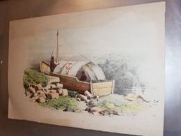 GRAVURE ANCIENNE LIVREUR EN VOILIER FLUVIAL A FOND PLAT  14 X 21 CM - Estampas & Grabados