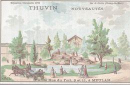 CHROMO  THUVIN NOUVEAUTES MEULAN  EXPOSITION UNIVERSELLE 1878  LAC ET GROTTE  CHAMP DES MARS - Trade Cards