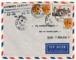 REUNION - Enveloppe Affr Composé 5F/12 Pont De Cahors + 3x1F/2F Blason Angoumois - 1956 Saint Denis - Reunion Island (1852-1975)