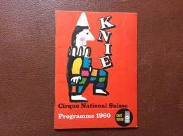 PROGRAMME CIRQUE  Cirque National Suisse KNIE  Programme 1960 - Programme