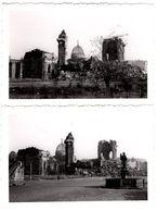 2 Photos Originales Guerre 1939/45 - Les Ruines De La Frauenkirche à Dresde & Fontaine Vers 1940 - Krieg, Militär
