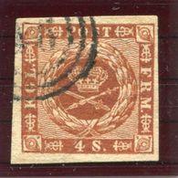 DENMARK 1858  4 Sk. With Wavy Lines, Large Crown Watermark, Used.  Michel 7b. - 1851-63 (Frederik VII)