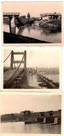 3 Photos Originales Guerre 1939/45 - Les Ruines De Pont Bombardé, Pont Provisoire & Barrage Vers 1930/40 - Krieg, Militär