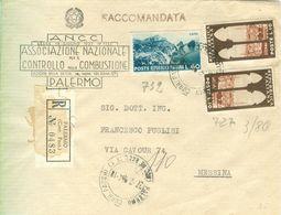 TURISTICA £.10X2(s727)+60 (s732),LETTERA RACCOMANDATA,1954,TIMBRO POSTE PALERMO-A.N.C.C. PALERMO - 6. 1946-.. Republic