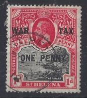 "ST. HELENA.....KING  GEORGE V.(1910-36.)..."" 1916..""....WAR TAX.........1d.....SG87.......CDS...VFU... - Isola Di Sant'Elena"