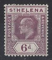 "ST.HELENA.....KING EDWARD VII.(1901-10.)..."" 1908..""....6d.....SG67......ORDENARY PAPER..........MH. - Isola Di Sant'Elena"