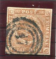 DENMARK 1854  4 RBS Yellow-brown, Used.  Michel 1 IIb.  Signed Møller BPP. - 1851-63 (Frederik VII)