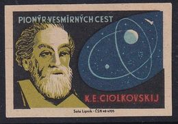 Czechoslovakia Space Weltraum Espace: Matchbox Labels: Konstantin Eduardovich Tsiolkovsky; Rocket Pioneer - Matchbox Labels