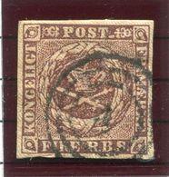 DENMARK 1852  4 RBS Red-brown With Good Even Margins, Used.  Michel 1 IIa.  Signed Møller BPP. - 1851-63 (Frederik VII)