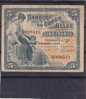 Belgian Congo Kongo  5 Fr  1943  Fine - Democratische Republiek Congo & Zaire