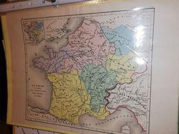 CARTE FRANCE LA GAULE GRANDE INVASION DES FRANCS DUFOUR  CIRCA 1860 21 X 27 CM - Cartes Géographiques