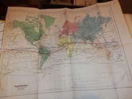CARTE MONDE PLANISPHERE DUFOUR CIRCA 1860 40 X 48 CM - Cartes Géographiques