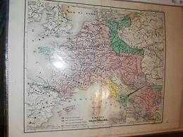 CARTE FRANCE EUROPE EMPIRE DE CHARLEMAGNE PAR DUFOUR 27 X 21 CM CIRCA 1870 - Cartes Géographiques