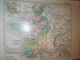 CARTE FRANCE A L AVENEMENT DES VALOIS PAR DUFOUR 27 X 21 CM CIRCA 1870 - Cartes Géographiques