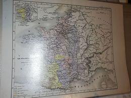 CARTE FRANCE LA FRANCE FEODALE SOUS PHILIPPE AUGUSTE PAR DUFOUR 27 X 21 CM CIRCA 1870 - Cartes Géographiques