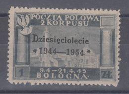 Italia Repubblica Corpo Polacco 1954 Battaglia Montecassino Soprastampa Nera 1 Z. Grigio Mh Senza Gomma - 6. 1946-.. Republic