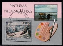 Nicaragua 1982 Mi# Block 145 Used - Paintings / Cock Fight, By Gallos P. Ortiz - Nicaragua