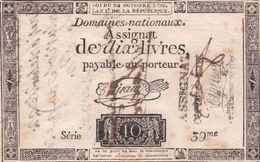 FAUX  ASSIGNAT  DE DIX LIVES  L AN 1° DE LA REPUBLIQUE AVEC SIGNIATURE DU CONTROLEUR - Assignats & Mandats Territoriaux