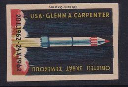 Czechoslovakia Space Weltraum Espace: Matchbox Labels: Mercury Program; Glenn; Carpenter; Orbit Earth - Matchbox Labels