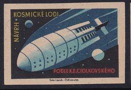 Czechoslovakia Space Weltraum Espace: Matchbox Labels: Konstantin Eduardovich Tsiolkovsky Projects; Rocket Pioneer - Matchbox Labels