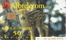 ALBANIA(chip) - Deer, Tiger, Albtelecom Telecard 50 Units, 01/02, Used - Albania