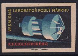 Czechoslovakia Space Weltraum Espace: Matchbox Labels:  Space Laboratory According To Konstantin Eduardovich Tsiolkovsky - Matchbox Labels