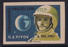 Czechoslovakia Space Weltraum Espace: Matchbox Labels: German Titov Vostok 2; Second Man In Space - Matchbox Labels