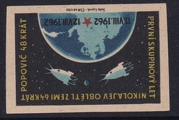 Czechoslovakia Space Weltraum Espace: Matchbox Labels: First Group Flight; Popovich; Nikolajev; Vostok 3 & 4 - Matchbox Labels
