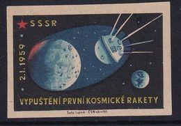 Czechoslovakia Space Weltraum Espace: Matchbox Labels: Luna 1; - Matchbox Labels
