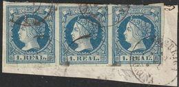 1860-Fragmento-Edifil: 55(3). ISABEL II. Matasello Fechador - 1850-68 Königreich: Isabella II.