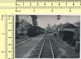 REAL PHOTO Yugoslavia Yougoslavie Steam Locomotive À Vapeur, Train Railway Station ORIGINAL VINTAGE SNAPSHOT PHOTOGRAPH - Trenes