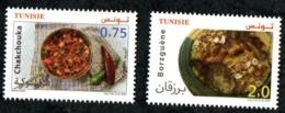 2020- Tunisia - Euromed- Traditional Mediterranean Gastronomy- Borzguene- Chakchouka- Complete Set 2v- MNH** - Tunesië (1956-...)