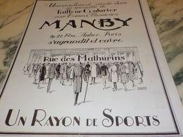 ANCIENNE PUBLICITE TAILLEUR COUTURIER MANBY 1925 - Posters