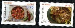 2020- Tunisia - Euromed- Traditional Mediterranean Gastronomy- Borzguene- Chakchouka- Complete Set 2v- MNH** - Emissions Communes