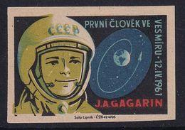 Czechoslovakia Space Weltraum Espace: Matchbox Labels: Yuri Gagarin; Vostok 1; First Manned Space Flight - Matchbox Labels