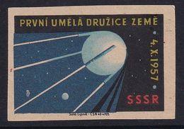 Czechoslovakia Space Weltraum Espace: Matchbox Labels: Sputnik 1; First Artificial Satellite - Matchbox Labels
