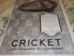 ANCIENNE PUBLICITE CASQUETTE CRICKET 1925 - Posters