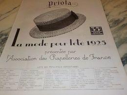 ANCIENNE PUBLICITE LA MODE POUR L ETE  AVEC PRIOLA  1925 - Posters