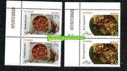 2020- Tunisie - Euromed- La Gastronomie Traditionnelle Méditerranéenne- Paire - Série 2v- MNH** Coin Daté - Tunisie (1956-...)
