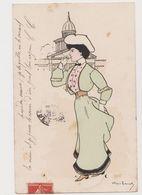 Carte Fantaisie Signée ??? / Jeune Femme à Paris ( Invalides) Fumant Une Cigarette - Künstlerkarten