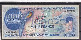 Burundi 1000  Fr 1968  Bleu - Burundi