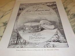 ANCIENNE PUBLICITE LA POUDRE LES SAISONS DE FONTANIS  1925 - Perfume & Beauty